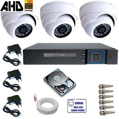 Kit 3 Câmeras de Segurança Dome De Metal AHD 1.3 Mp 720p + DVR 4 Canais