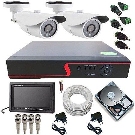 Kit de Vigilância 2 Câmeras AHD 1.3 Megapixel 720p DVR 4 Canais + Monitor 7 Polegadas