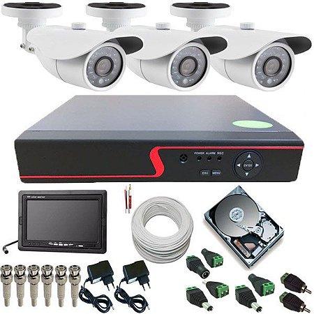 Kit Monitoramento 3 Câmeras Infravermelho AHD 1.3 Mp DVR 4 Canais + Monitor Lcd