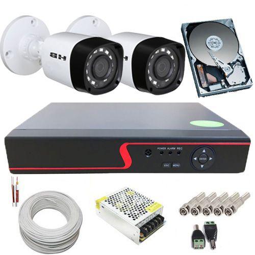 Sistema de Monitoramento 2 Câmeras Híbridas Infravermelho 1 Megapixel + DVR
