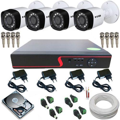 Kit 4 Câmeras de Segurança Híbridas 1 Megapixel 720p DVR Stand Alone 4 Canais
