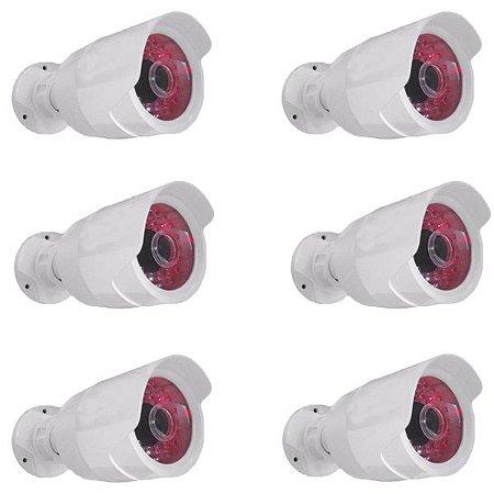 Kit 6 Câmeras de Monitoramento Falsa com Infravermelho - Formato Bullet