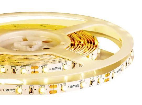 FITA 12V 4,8W/m LUZ AMARELA 3000k Save Energy IP20 - Rolo de 5 metros - IRC 80 - Dimerizável