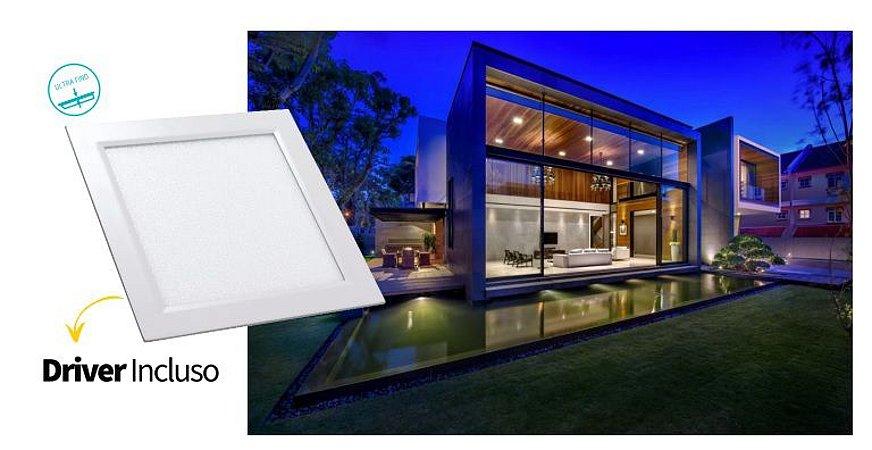 Luminária Painel Slim Embutir 18W LED QUADRADO Bivolt CRISTALLUX - 22,5cm x 22,5cm