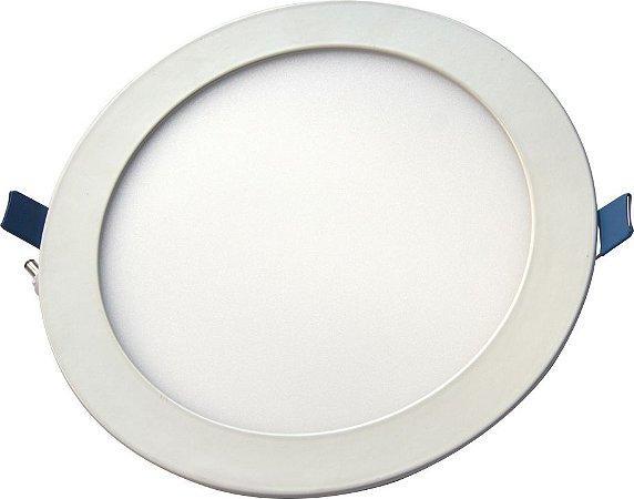 Luminária Painel Slim Embutir 18W LED REDONDO Bivolt CRISTALLUX - 22,5cm de diâmetro