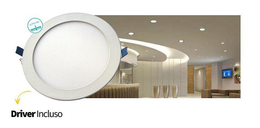 Luminária Painel Slim Embutir 24W LED REDONDO Bivolt CRISTALLUX