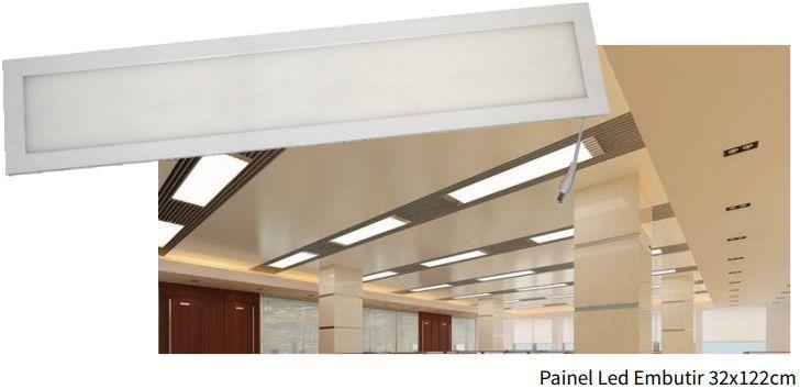 Luminária Painel Slim Embutir 40w RETANGULAR 32X122 - CRISTALLUX
