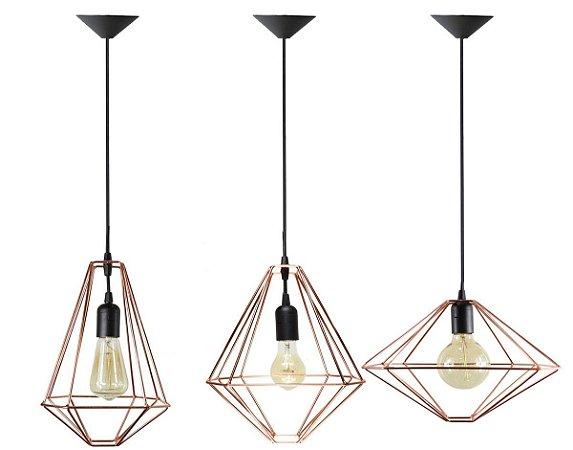Trio de Pendentes Aramados LHZ Cobre - lâmpadas não inclusas