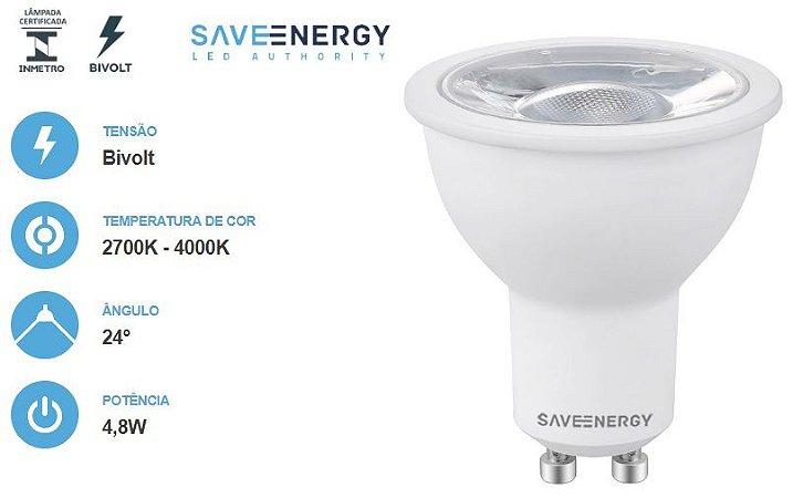 Lâmpada dicroica MR16 GU10 4,8w SAVE ENERGY
