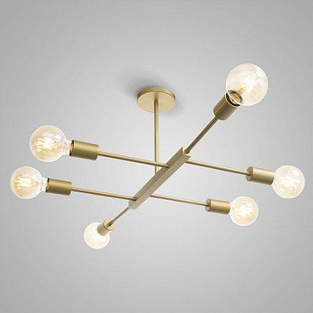 Pendente Metal JAZZ ITAMONTE Ouro Mate - utiliza 6 lâmpadas modelo vintage