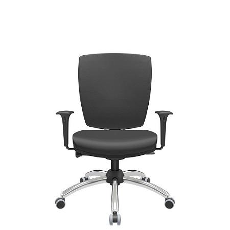 Cadeira Giratoria Diretor Altrix Autocompensador Base Cromada Rev.Couro Ecológico - Plaxmetal