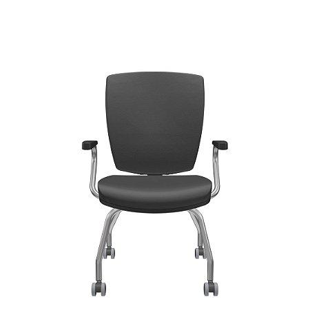 Cadeira Diretor para Reunião Altrix 4 Pés com Rodízio Rev. Couro Ecológico - Plaxmetal