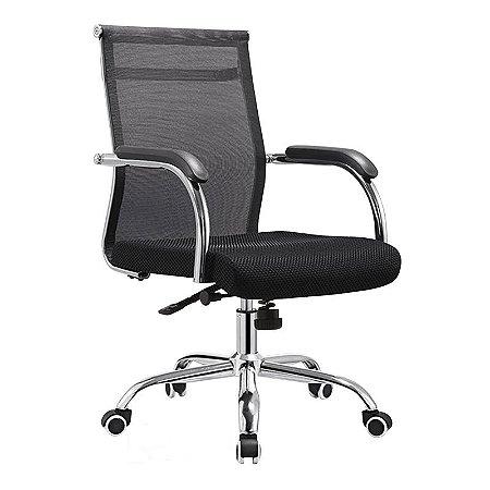 Cadeira Giratória Diretor W123 Tela Base Relax cromada Braço Fixo
