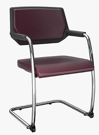 Cadeira Fixa Empilhável Piena Base Cromada Encosto Estofado Plaxmetal