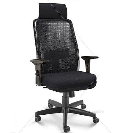 Cadeira Para Escritório Giratória Presidente NewNet 16001 AC - Base Aço Com Polaina - Syncron - Braços SL