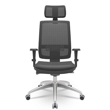 Cadeira Presidente Brizza Autocompensador Slider - Base Alumínio - Braços 3D PU - Plaxmetal