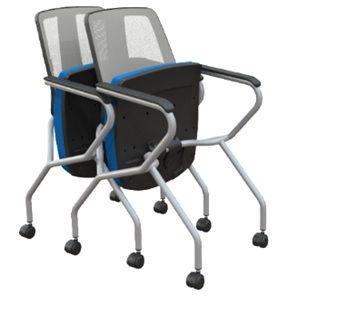 Cadeira Fixa Aproximação 43106 ZI Retrátil Executiva c/ Rodizio 50 Nylon Encosto Tela Braço Integrado Injetado
