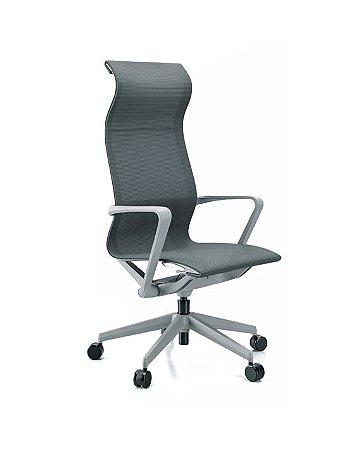 Cadeira Giratória Auto Regulável, Estrutura Cinza, Aranha Alumínio, Rod. 60 Misto, Tela Cinza 44101 Cavaletti