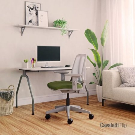Cadeira Giratória Executiva - Linha Flip 43103 SRE - Base Nylon - Braços SL New PU Cinza- Cavalett