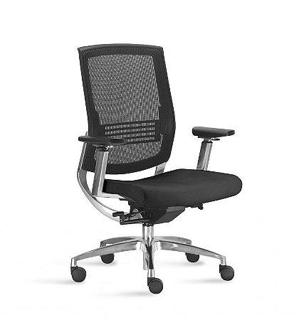 Cadeira Presidente Giratória Fit - Mecanismo Sincronizado - Base Aluminio  - Apoio Lombar - Com Braço - Frisokar