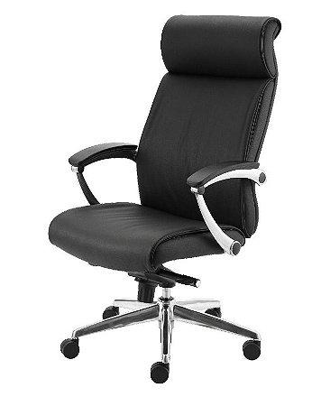 Cadeira Presidente - Couro Natural - Base Alumínio