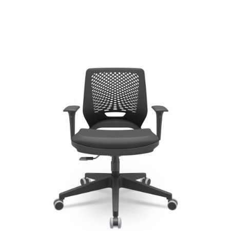 Cadeira Giratória Beezi com Braços  Base Piramidal Plaxmetal