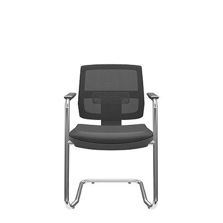 Cadeira Plaxmetal Aproximação Fixa Brizza Tela - Base Cromada S