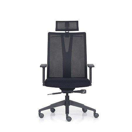 Cadeira Giratoria Presidente Addit  KADD60- Mecanismo Syncron - Base Piramidal Nylon  - Com Braço - Frisokar