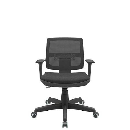 Cadeira Giratoria Executiva Brizza Tela Back System Plax - Base Standard  Braços Rgualvel PP - Plaxmetal