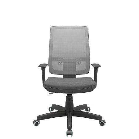 Cadeira Presidente Linha Brizza Tela Cinza Assento Poliester Cinza- Base Standard - Back Plax - Braços Regulavel - Plaxmetal