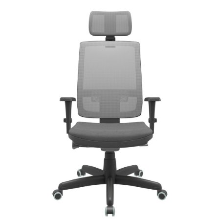 Cadeira Brizza Presidente Tela Cinza Mecanismo Autocompensador Syncron Com Apoio de Cabeça Braços Regulavel 3D Plaxmetal