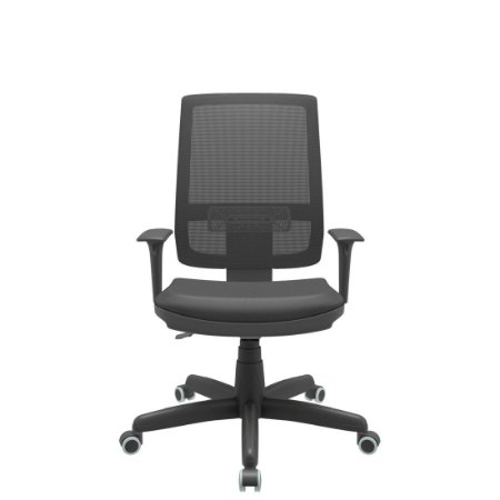 Cadeira Presidente Brizza Tela Revestimento Couro Ecologico Preto Back Plax Certificada NR-17 - Base Standard Braços Regulavel - Plaxmetal