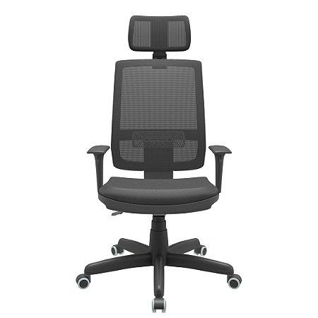 Cadeira Presidente Brizza Tela Revestimento Couro Ecologico Preto Back Plax Com Apoio de Cabeça Certificada NR-17 - Base Standard Braços Regulavel - Plaxmetal