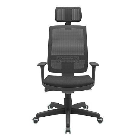 Cadeira Brizza Presidente Tela Mecanismo Autocompensador Syncron Com Apoio de Cabeça Braços Regulavel Plaxmetal