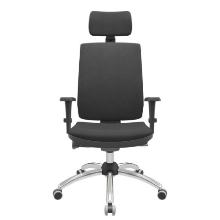 Cadeira Presidente Brizza Soft - Braços 3D PP - Autocompensador Slider - Base Cromada - Plaxmetal