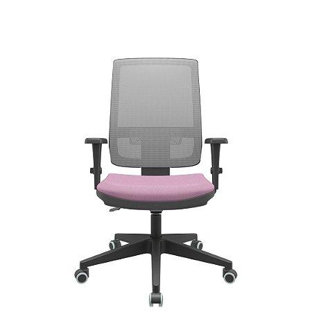Cadeira Brizza Presidente Tela Cinza Assento Lilás Base Standard backPlax Plus Plaxmetal