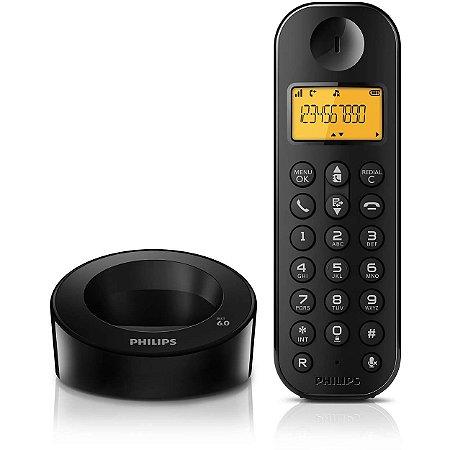 TELEFONE S/FIO PHILIPS D1301B/BR PRETO