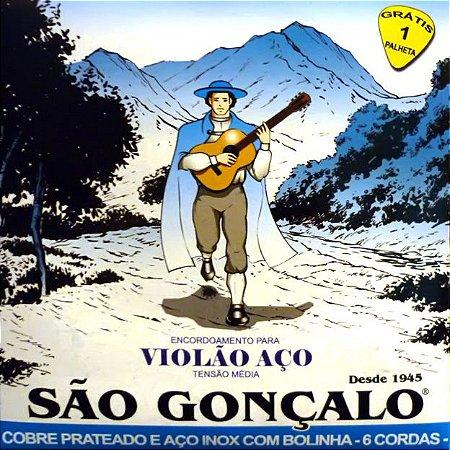 ENCORDOAMENTO P/VIOLAO ACO IZ0125 PRATA (C/6 CORDAS+1 PALHETA) SAO GONCALO
