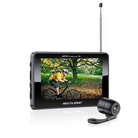 "GPS 4,3"" TRACKER III C/ AV IN+TV+FM GP035 MULTILASER (COMPLETO)"