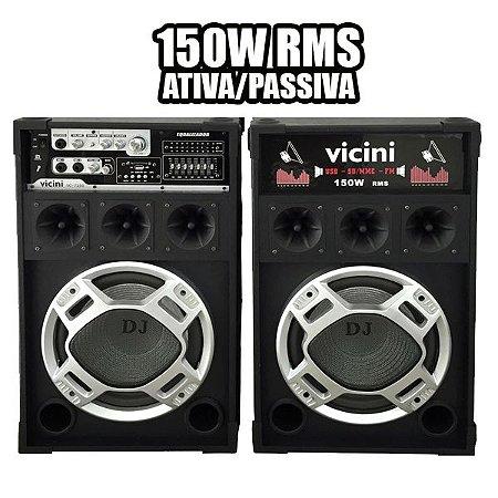 CAIXA DE SOM VICINI VC7150 USB/SD/FM 150W BIVOLT