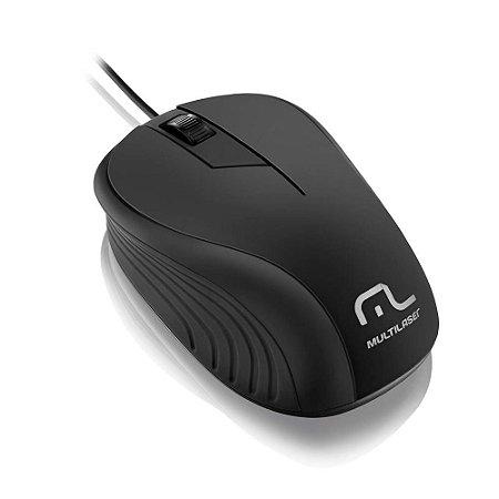 MOUSE EMB. PRETO C/ FIO USB MO222 MULTILASER