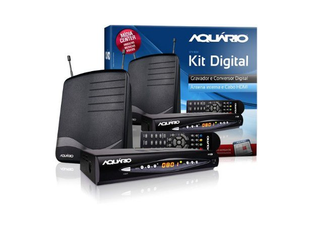 KIT CONVERSOR DIGITAL AQUARIO DTV8100 (ANTENA + CONVERSOR)