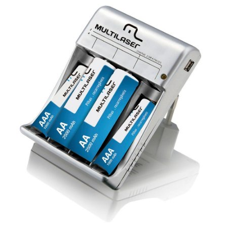 CARREGADOR PORTATIL C/ 2AA E 2AAA USB CB073 MULTILASER