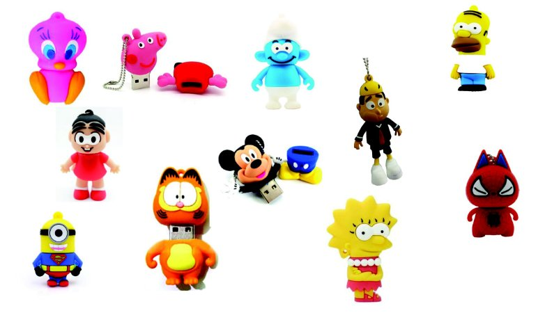PEN DRIVE 4GB - PERSONAGENS DIVERSOS