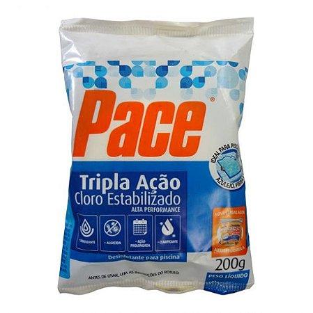 PACE TRIPLA ACAO TABLETE 200GR P/ PISCINA CLORO ESTABIL/ CLARIF/ ALGICIDA - HTH