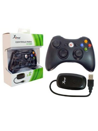 CONTROLE P/ XBOX 360 S/ FIO C/ ADAP. USB KNUP KP-5122A