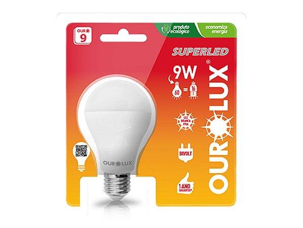 LAMPADA LED 9W/60W E27 6500K SUPERLED BIVOLT OUROLUX