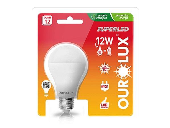 LAMPADA LED 12W/80W E27 6500K SUPERLED BIVOLT OUROLUX