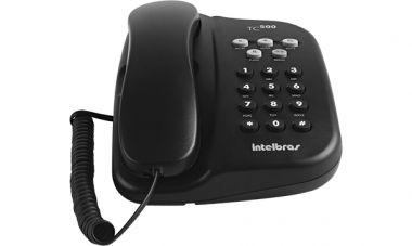TELEFONE INTELBRAS TC500 PRETO C/FIO