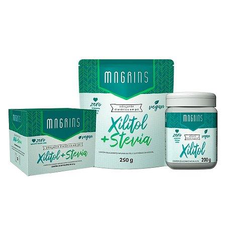 Combo  Magrins - Magrins Xilitol 200g + Magrins Xilitol+Stevia 250g: Ganhe 1 Magrins Xilitol+Stevia Sachê